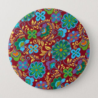 Mayan Floral Red Pattern 4 Inch Round Button