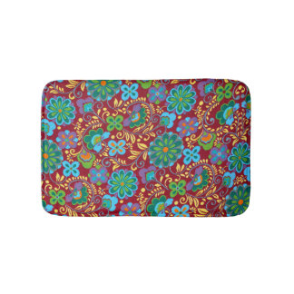 Mayan Floral Red Pattern Bathroom Mat