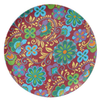 Mayan Floral Red Pattern Dinner Plate