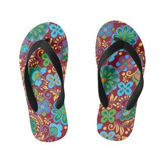 Mayan Floral Red Pattern Kid's Flip Flops