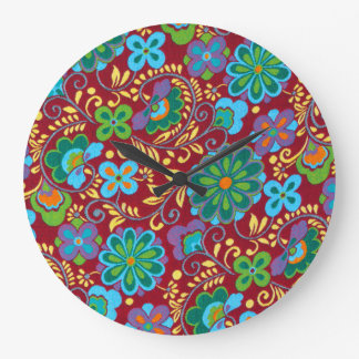 Mayan Floral Red Pattern Large Clock