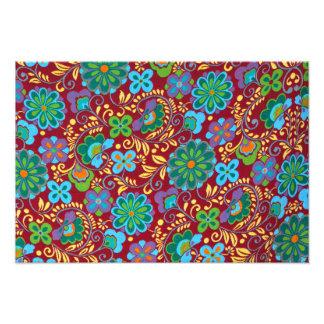 Mayan Floral Red Pattern Photo Print