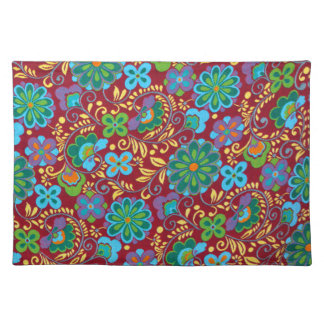 Mayan Floral Red Pattern Placemat