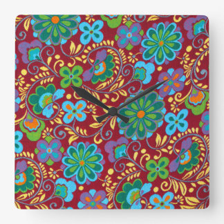 Mayan Floral Red Pattern Square Wall Clock