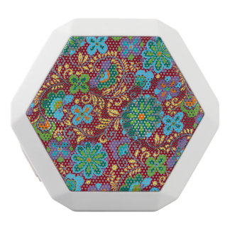 Mayan Floral Red Pattern White Bluetooth Speaker