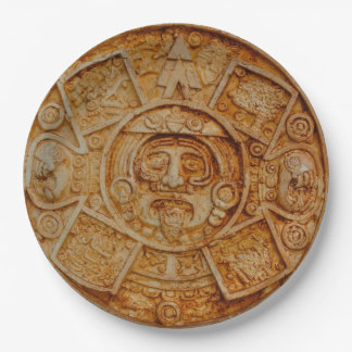 Mayan God Calendar 9 Inch Paper Plate