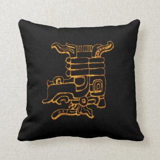 Mayan Gold Hieroglyphs Throw Pillow