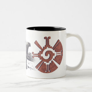 Mayan Hunab Ku with Rattlesnakes Two-Tone Coffee Mug