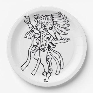Mayan jaguar dancer - Dancer Plate 9 Inch Paper Plate