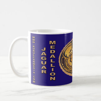 MAYAN JAGUAR MEDALLION-DARK BLUE- CANCUN MEXICO COFFEE MUG