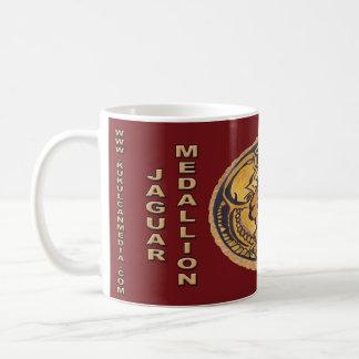 MAYAN JAGUAR MEDALLION-DARK RED- CANCUN MEXICO COFFEE MUG