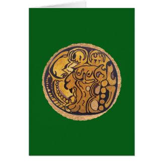 MAYAN JAGUAR MEDALLION- MIDNIGHT GREEN BACKGROUND CARD