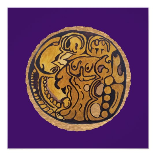 MAYAN JAGUAR MEDALLION-PURPLE BACKGROUND POSTER