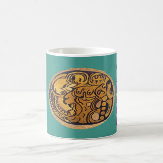 MAYAN JAGUAR MEDALLION-TURQUOISE BLUE- CANCUN COFFEE MUG