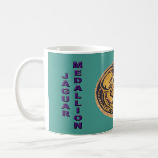 MAYAN JAGUAR MEDALLION- TURQUOISE- CANCUN MEXICO COFFEE MUG
