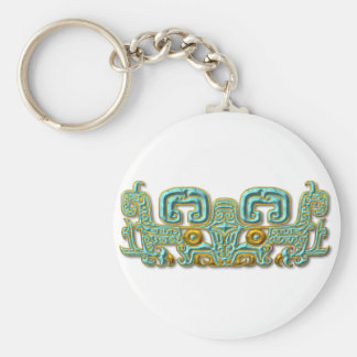 Mayan Jaguar-turquoise and gold Keychain