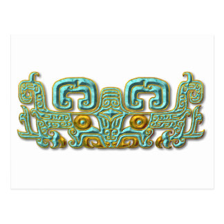 Mayan Jaguar-turquoise and gold Postcard
