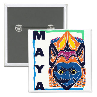 MAYAN MASK 2 INCH SQUARE BUTTON