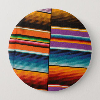 Mayan Mexican Colorful Blankets 4 Inch Round Button