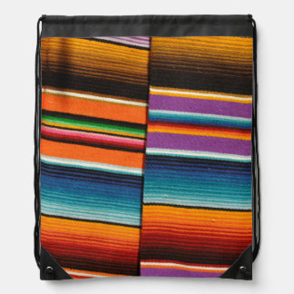 Mayan Mexican Colorful Blankets Drawstring Bag