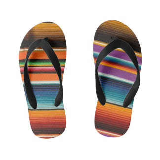 Mayan Mexican Colorful Blankets Kid's Flip Flops