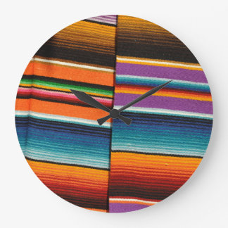 Mayan Mexican Colorful Blankets Large Clock