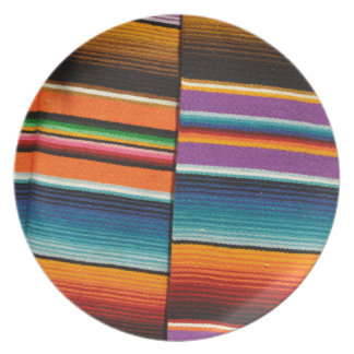 Mayan Mexican Colorful Blankets Plate