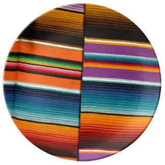Mayan Mexican Colorful Blankets Porcelain Plates