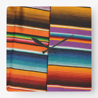 Mayan Mexican Colorful Blankets Square Wall Clock