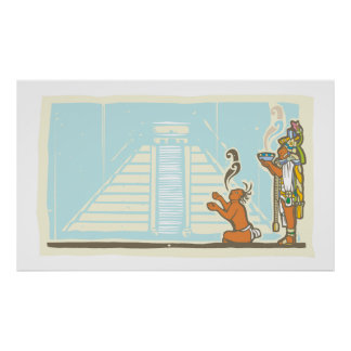 Mayan Priest Sacrifice and Pyramid Poster