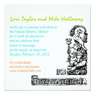 Mayan Riviera Mexico Beach Wedding Invitation