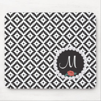 Mayan Rose Pearl Monogram Black White Knit Mouse Pad