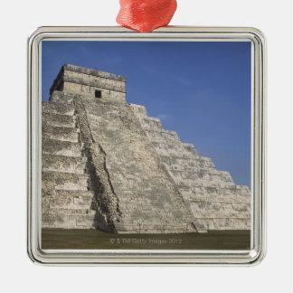 Mayan ruins at Chichen Itza, Kukulcans Pyramid Silver-Colored Square Ornament