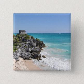 Mayan Ruins in Tulum Mexico 2 Inch Square Button