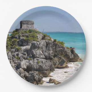 Mayan Ruins in Tulum Mexico 9 Inch Paper Plate