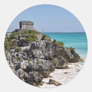 Mayan Ruins in Tulum Mexico Classic Round Sticker