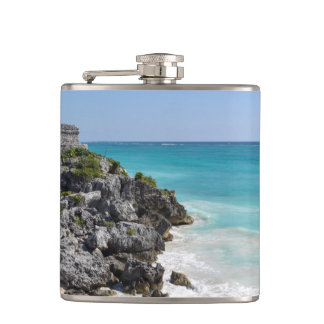 Mayan Ruins in Tulum Mexico Hip Flask