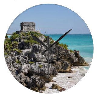 Mayan Ruins in Tulum Mexico Large Clock