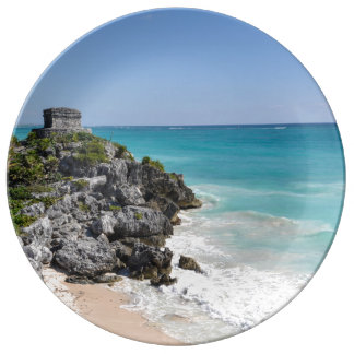 Mayan Ruins in Tulum Mexico Porcelain Plate