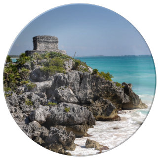 Mayan Ruins in Tulum Mexico Porcelain Plates