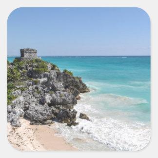 Mayan Ruins in Tulum Mexico Square Sticker