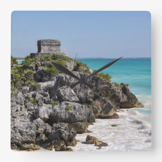 Mayan Ruins in Tulum Mexico Square Wall Clock