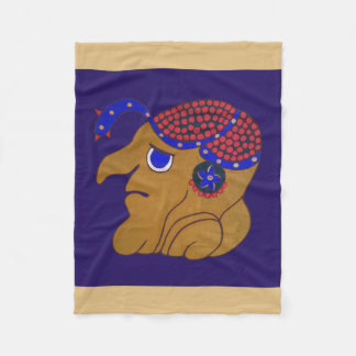 MAYAN SPIRIT HURACAN- BLUE AND GOLD BACKGROUND FLEECE BLANKET