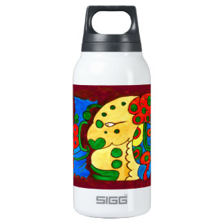 MAYAN SPIRIT IQUI BALAM- MIDNIGHT RED- MAYAN GOLD. INSULATED WATER BOTTLE