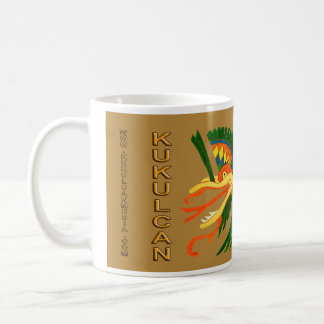 MAYAN SPIRIT KUKULCAN- GOLD BACKGROUND- CANCUN COFFEE MUG