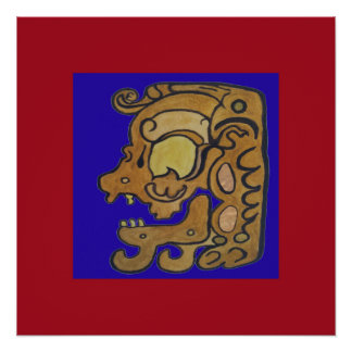 MAYAN SPIRIT OF DEATH- BLUE AND RED BACKGROUND PERFECT POSTER