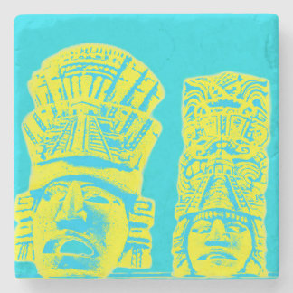 mayan statue pattern drink coaster