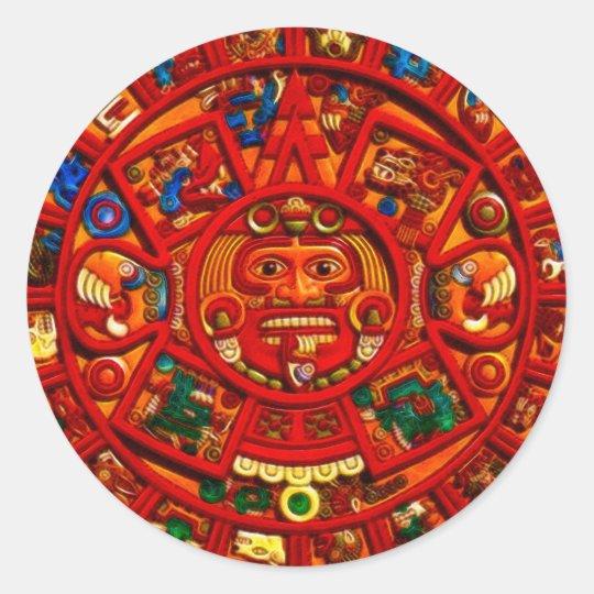 MAYAN Sun Calendar of Mexico (Red version) Classic Round Sticker