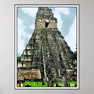 Mayan Temple at Tikal, Guatemala Print