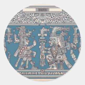 Mayan Tulum Mural Round Sticker